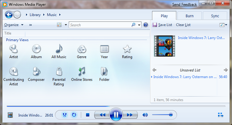 Windows 7 Beta - Media Player 12 - Bigger Focus On Playing